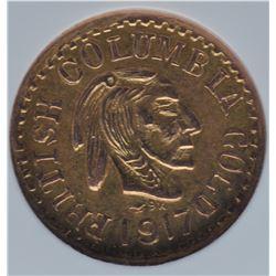 1917 British Columbia $1 Gold Token