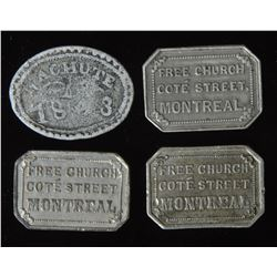 Canadian Communion Tokens - Quebec - Lot of 4