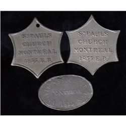 Canadian Communion Tokens - Quebec - Lot of 3