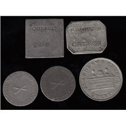 Canadian Communion Tokens - Quebec - Lot of 5