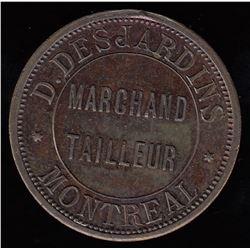 Quebec Token - Br 575. D. Desjardins Storecard, 1885.