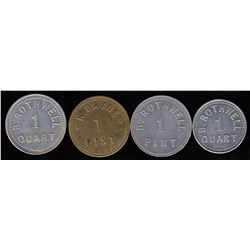 Lot of 4 Ontario Tokens