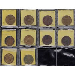 Manitoba - Lot of 10 tokens relating to the 1913 Dominion Exhibition.