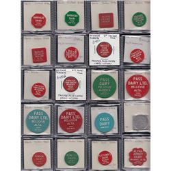 Alberta - Lot of 251 dairy tokens, primarily plastic with the few made of metal as indicated.