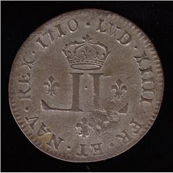 30 Deniers Mousquetaire.  1710-D.