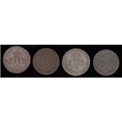 30 Deniers Mousquetaire.  Four different dates from Lyon mint.