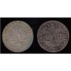 15 Deniers Demi-Mousquetaires.  A pair of 1713-AA.