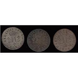 15 Deniers Demi-Mousquetaires.  1711-AA, 1712-AA, 1713-AA.