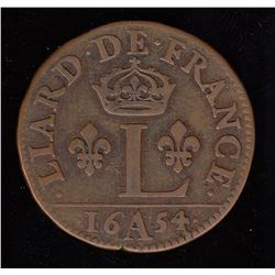 "Scarce 1654-A Crowned ""L"" Liard."