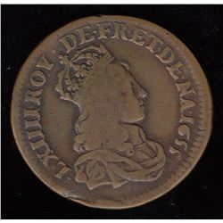 Double-obverse 1655 Liard.