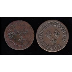 A pair of Double Tournois: Reverse brockage and heavyweight 1607-A