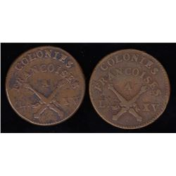 Uncountermarked 1767 Colonies Frances 12 Deniers - group of 2.