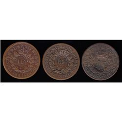Countermarked 1767 Colonies Frances 12 Deniers - group of 3.