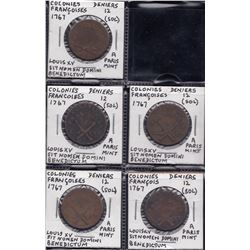 Uncountermarked 1767 Colonies Frances 12 Deniers - lot of 5.