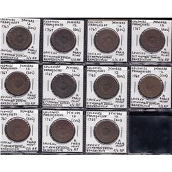 Countermarked 1767 Colonies Frances 12 Deniers - lot of 11.