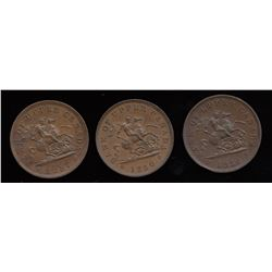 A trio of Br. 719. Bank of Upper Canada pennies.