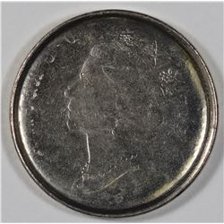 Modern Canadian Decimal Error - Five cent die cap obverse brockage.