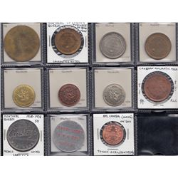 Lot of 11 numismatic-related tokens.