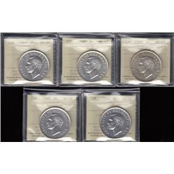 Lot of 5 ICCS Graded 1949 Silver Dollars