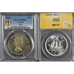 1949 & 1953 Silver Dollar