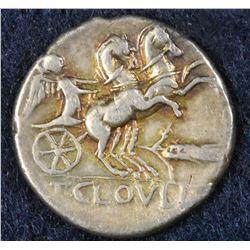 Moneyer - T. Cloelius. 128 BC. AR Denarius