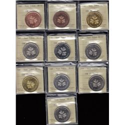 Complete Set of 1983 Royal Canadian Mint One Dollar Test Tokens