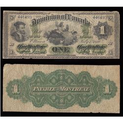 Dominion of Canada $1, 1870 Payable at Montreal