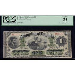 Dominion of Canada $1, 1870 Payable at Toronto