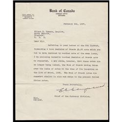 Dominion of Canada $1, 1923 & Important Bank of Canada Letter