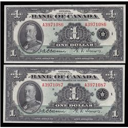 Bank of Canada $1, 1935 - Lot of 2 Consecutive