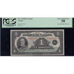Banque du Canada $1, 1935 French