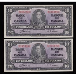 Bank of Canada $10, 1937 - Lot of 2 Consecutive