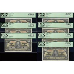 Bank of Canada $20, 1937 - Lot of 7 Consecutive