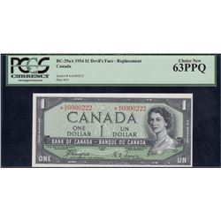 Bank of Canada $1, 1954 Devil's Face Replacement