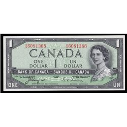 Bank of Canada $1, 1954, Devil's Face - Offset Signatures