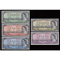Bank of Canada $1-$20, 1954 Devil's Face - Matching Serial Number Set
