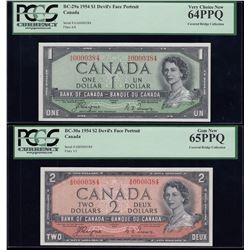 Bank of Canada $1 & $2, 1954 Devil's Face - Matching Serial Number Set