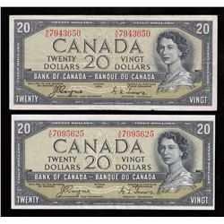 Bank of Canada $20, 1954 Devil's Face - Lot of 2