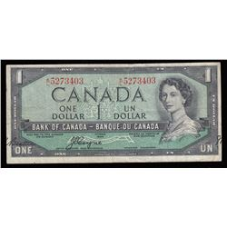 Bank of Canada $1, 1954 Signature Error