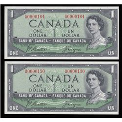 Bank of Canada $1, 1954 Low Serial Numbers