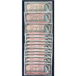 Bank of Canada $2, 1954 Replacement Notes - Lot of 13
