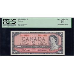 Bank of Canada $2, 1954 Solid Digit Radar