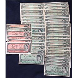 Bank of Canada $1 & $2, 1954 - Lot of Notes
