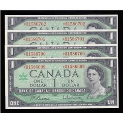 Bank of Canada $1, 1967 Replacement Notes - Lot of 4 Consecutive