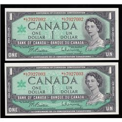 Bank of Canada $1, 1967 Replacement Notes - Lot of 2 Consecutive