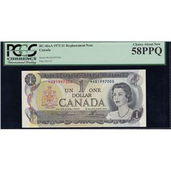 Bank of Canada $1, 1973 Replacement - Unique Rare Replacement