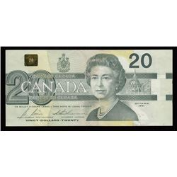 Bank of Canada $20, 1991 Out of Register Printing Error