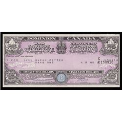 Dominion of Canada $25 War Savings Certificate