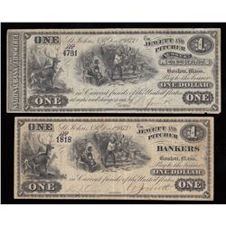 Jewett and Pitcher $1, 1873 - Lot of 2