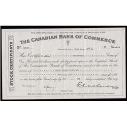 Canadian Bank of Commerce Stock Certificate, 26 June 1936.